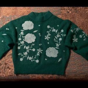 H&M GREEN With Blue Applique Flowers Sweater-Sz 14